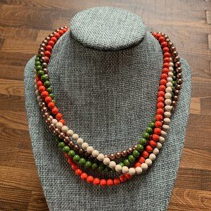 Vintage Four Strand Colored Beaded Choker Necklace